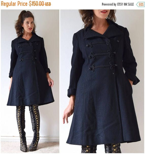 SUMMER SALE / 20% off Vintage 60s 70s Lassie Black Wool Sergeant Pepper Double Breasted Cropped Princess Pea Coat (size medium, large)
