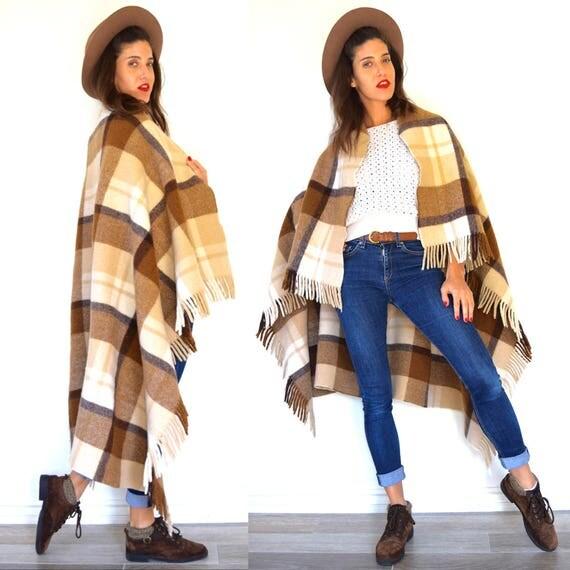 Vintage 60s Hot Chocolate Buffalo Plaid Wool Fringe Blanket