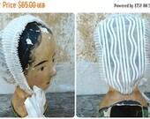 ON SALE Vintage Antique 1890/1900s Victorian  French ruffled white organdi cap bonnet lady's bonnet headdress