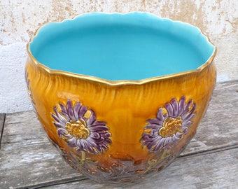 Vintage Antique French majolica barbotine ceramica cache pot jardiniere