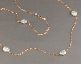 Large Freshwater Pearl Necklace, Keshi Pearl, Coin Pearl, Long Pearl Necklace
