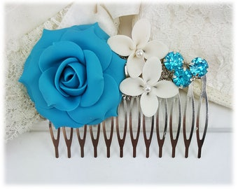 Turquoise Flower Hair Comb - Turquoise Wedding Comb, Turquoise Hair Accessories, Aqua Blue Bridal Hair Comb, Flower Collage Hair Comb