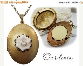 30% OFF SUMMER SALE Gardenia Solid Perfume Locket  - Refillable Gardenia Perfume Jewelry