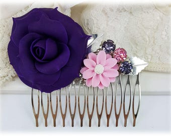 Purple Flower Hair Comb - Purple Wedding Hair Comb, Purple Rose Comb