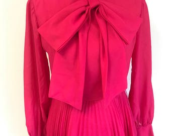 Vintage Pink High Neck Bow Dress Sheer Arms, Curcke Skirt, S/M FREE SHIPPING