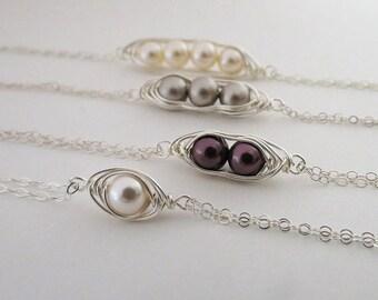 ON SALE Pea in a Pod Bracelet,Sterling Silver,Mothers Jewelry, Bridesmaids,Pearl Bracelet,Bridal Bracelet,Friends Bracelet, Birthstone Jewel