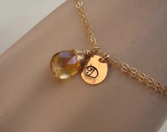 ON SALE Personalized Bracelet Adjustable Hand Stamped Letter  Gold Filled- Bridal, Wedding, Special Gift, Bridesmaids Favors, Wedding Bracel