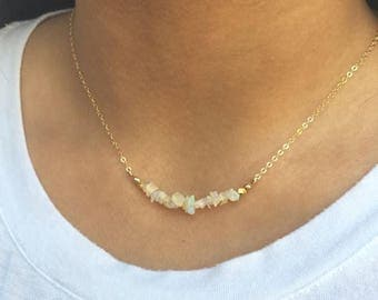 ON SALE Opal Bar Necklace Dainty Layering Necklace Gold Fill Opal Jewelry Bridesmaids Gift Ethiopian Opal Necklace