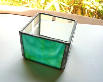 Simple Candle Holder or Trinket Box - Stained Glass Box with Green Front