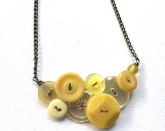 BUTTON JEWELRY SALE Lovely Pale and Mustard Yellow Vintage Button Statement Necklace