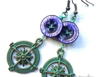 Adventure Dangle Button Earrings with Purple Buttons and Compass Design