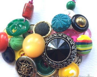 Number 2 Colorful Buttons One of a Kind Statement Necklace with Repurposed Vintage Buttons