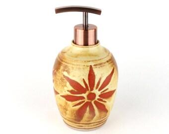 Soap Dispenser - Lotion Dispenser - 14 oz. Lotion Bottle - Yellow with Terracotta Sunburst  Lotion Bottle - Handmade Wheel Thrown Pottery