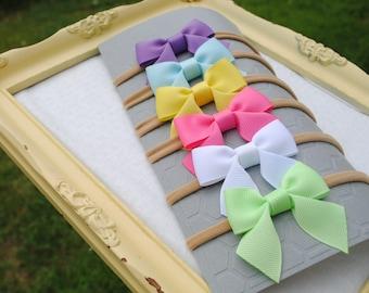 Nylon Headband Gift Pack - Simple Headband Set - ONE SIZE fits all - Baby Girl Bow Headbands - Newborn Hair Bow - Pink Bow - 2 Inch Baby Bow