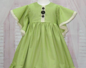 Girl Green Dress, Green Linen Dress, Flower Girl Dress, Vintage Style Dress, Dress with Lace, Angel Sleeve Dress, Pageant Girl Green Dress