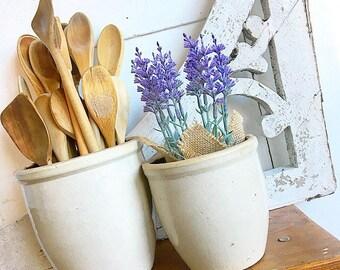 What A Crock... Two Antique Oatmeal Salt Stoneware Crocks Farmhouse Decor Rustic Primitive Pottery
