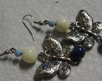 Butterfly Long Dangle Pierced Earrings