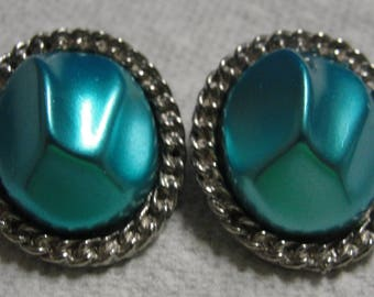 Teal Silver Tone Oval Clip Earrings