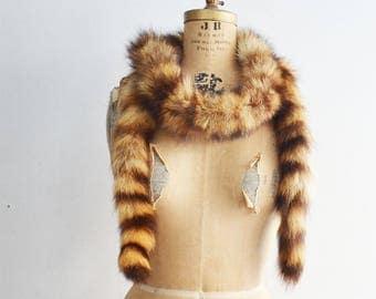 vintage Raccoon fur boa scarf