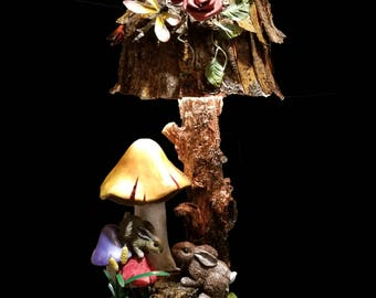Rabbits and Mushrooms under Tree Lamp, There is only one.