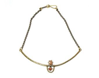 Arche Collar // Peach Moonstone & Goldstone
