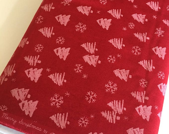 Christmas fabric, Quilting fabric, Chalkboard Art, Christmas or Winter Craft, Merry Scriptmas, Chalkboard Trees in Red- Choose the cut