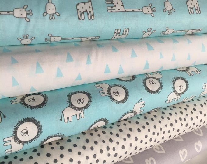 Baby Quilt Fabric, Giraffe, Lion, Gift for Quilter, Quilting fabric, Aqua Gray, boy gender neutral room ideas, Bundle of 5, Choose your cut