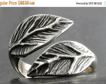 MATERNITY LEAVE SALE Leaf ring in sterling silver - Available in various adjustable sizes - elf pixie tribal boho