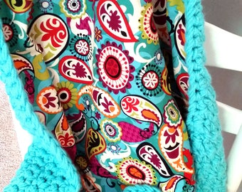 Paisley Baby Blanket, Toddler, Afghan, Baby Shower Gift, Fabric Lined Afghan, Crochet, Aqua, Teal, Olive, Red, Yellow, Black, Orange