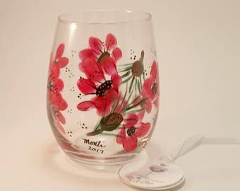 Red Flower, Pine Boughs and Cones Stemless Wine Glass