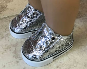 Girl Doll Sneakers, Silver Glitter Doll Shoes, 18 inch Doll Sneakers, American Doll Silver Glitter Sneakers, Girl Doll Shoes, Ready to ship