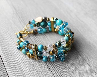 Beaded Bracelet, Turquoise, Crystal Beaded Bracelet, Sparkle, Wide Bracelet, Bead Bracelet, Blue Ice Beaded Bracelet