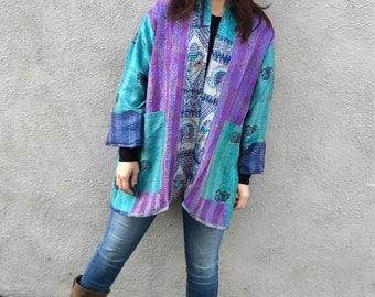 Gorgeous turquoise and purple silk reversible kimono in plus size