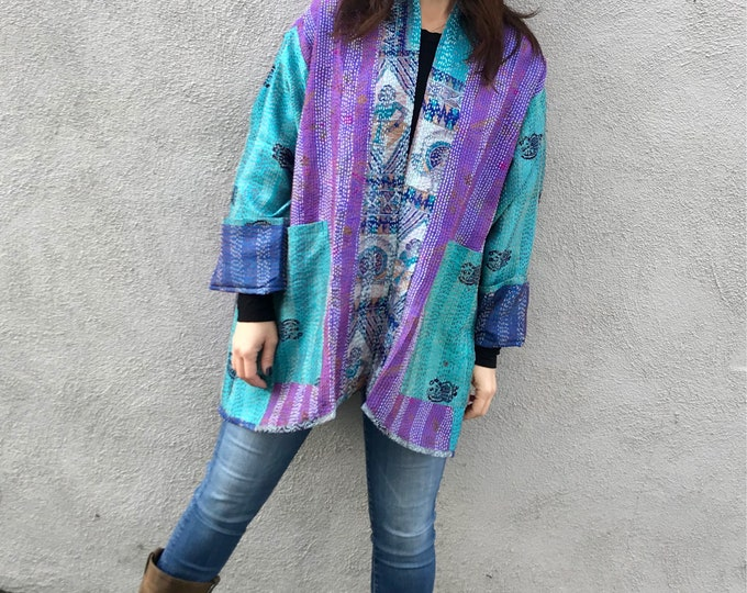 Gorgeous turquoise and purple silk reversible kimono in plus size