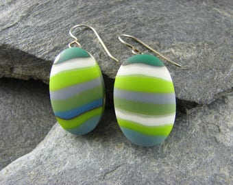 Earthy Oval Fused Glass Earrings. Fused Glass Jewelry. Neutral Earrings. Modern Jewelry. Glass Earrings. Handcrafted in Texas.
