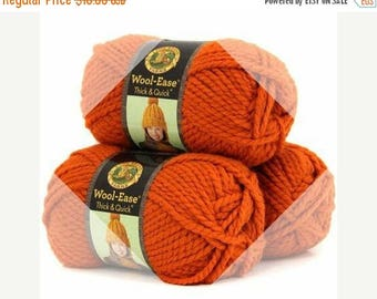 SALE Chunky Knitting Yarn Destash | Lion Brand Wool Ease Thick and Quick Super Bulky Chunky Yarn | Color Pumpkin 133 | 4 Skins Available
