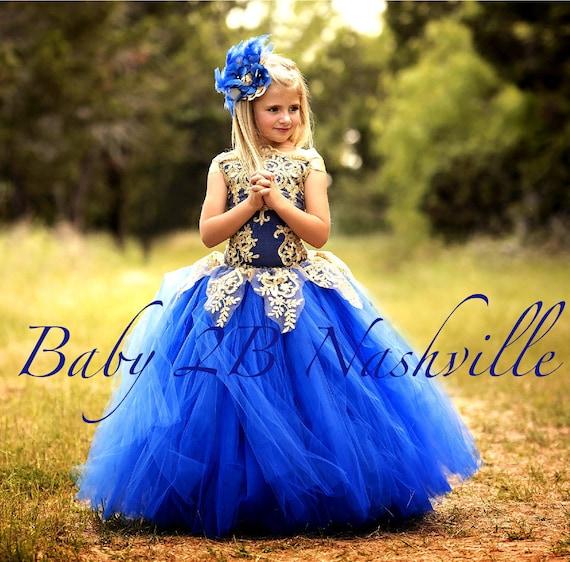 Royal Blue Dress Gold Dress Flower Girl Dress Princess Dress Tulle Dress Lace Dress Wedding Dress Birthday Dress Tutu Dress Girls Dress