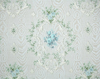 1950s Vintage Wallpaper by the Yard - Blue Roses Damask Floral Wallpaper