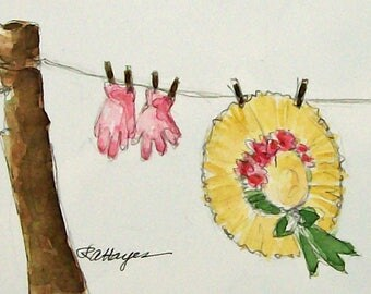 Sunbonnet Clothesline Wash Day Original Watercolor Painting ACEO Floral Garden Gift Laundry Room