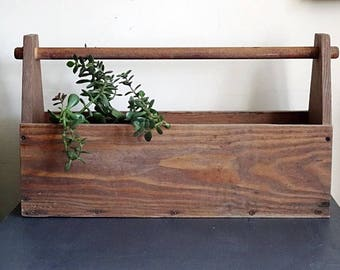Reclaimed Wood Toolbox Planter Vintage Handmade