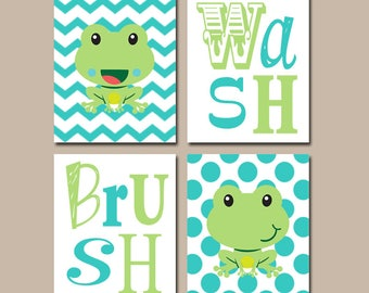 FROG Bathroom Wall Art   Frog Bath Decor   Frog Wash Brush Rules   Kid  Bathroom
