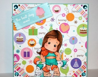 Absolutely adorable handmade Happy Birthday card with banner Tilda