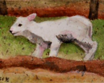 ACEO Original - Watercolor Painting - Sheep Painting - Spring  Lamb - Artist Trading Card - Original ATC - Art Card - Fine Art - Easter Gift
