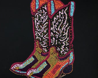 "Dot Pointillism, Acrylic Cowboy Boots 12"" square, black canvas paper, dot  pointillism art, dot pointillism original work, brown, red, geen"