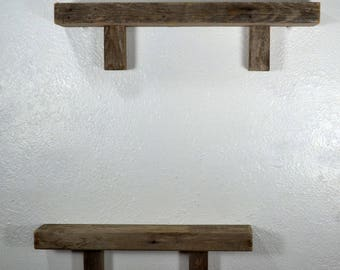Wall hung shelf pair 17 and 20 wide reclaimed wood with beautiful natural patina