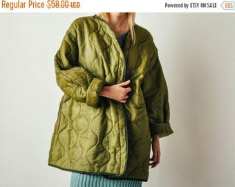 ON SALE Vintage Army Green Quilted Liner Coat