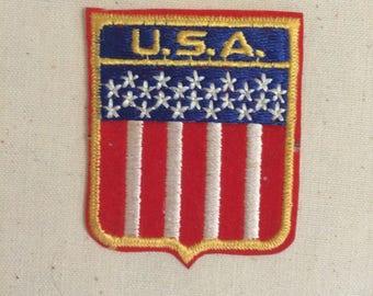 Vintage souvenir Sew on Iron on Patch USA America American United States Pride Flag stars stripes federal republic