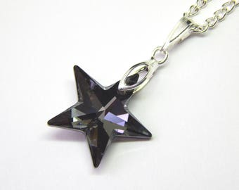 Grey Swarovski Star Necklace - Silver Night Crystal - Grey Crystal Star Necklace - Swarovski Elements - Silver Star Pendant - Crystal Star