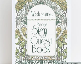 Printable Guest Book Sign - 8x10 Wedding Sign in Art Nouveau Gatsby Garden design - Ready to Print in PDF or JPG - Instant Download