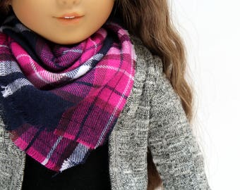 Fits like American Girl Doll Clothes - Doll Accessories - Purple Plaid Blanket Scarf